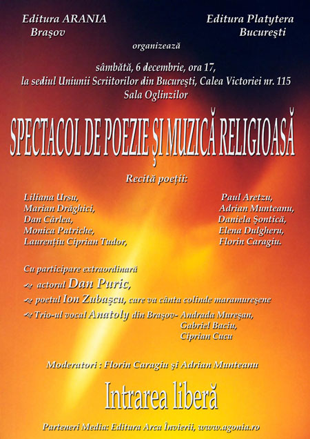 Afis - Concert de poezie si muzica religioasa