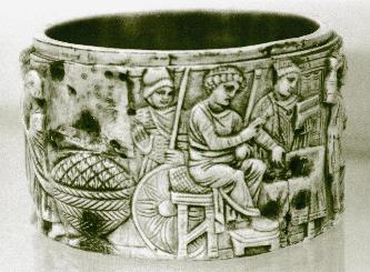 Cutiuta  fildes – ilustrand scene din martiriul Sf. Mina  (sec  VI – d. Hr.) (British Museum - Londra)
