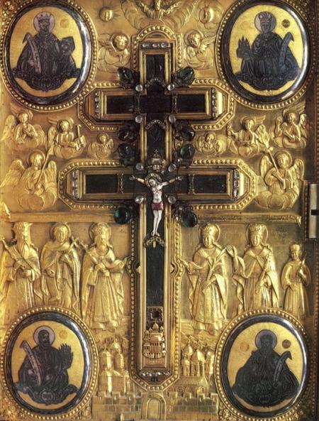 Racla care adăposteşte o parte din cinstitul lemn al sfintei Cruci a Mântuitorului - sfânta mănăstirea Xiropotamu din sf. Munte Athos