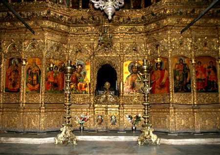 Manastirea Leimonos - iconostasul bisericii centrale