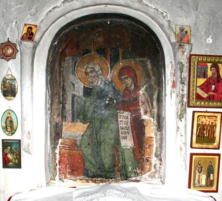 Manastirea Leimonos - fresca din chilia Sfantului Ignatie