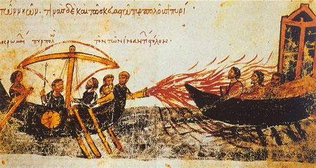 Lupta pe mare - focul bizantin