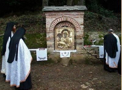 Manastirea Hilandar - Procesiune cu Icoana Tricherousa