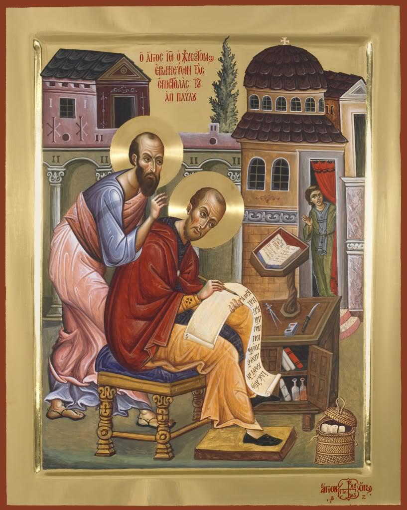 Sfantul Apostol Pavel soptindu-i Sfantului Ioan Gura de Aur talcuirea epistolelor