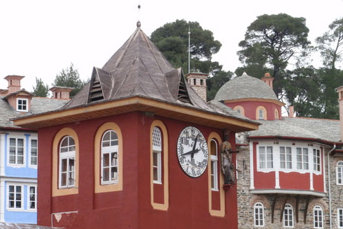 Ora bizantina - Turnul cu ceas de la Manastirea Vatoped