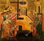 Sfintii Imparati Constantin si Elena, prezenti in icoana Inaltarii Sfintei Cruci