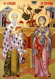 Sfintii Mucenici Ciprian si Iustina; Sfantul Cuvios Teofil
